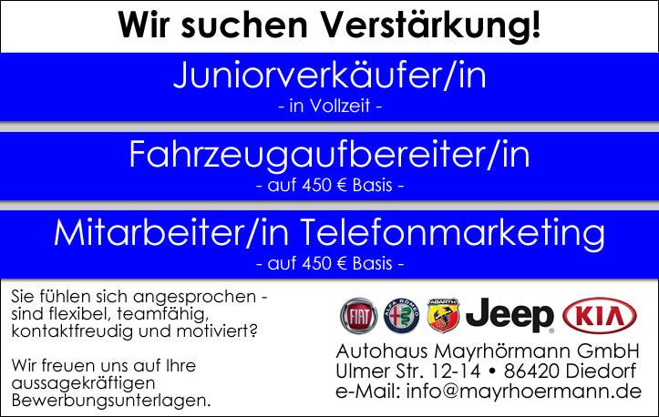 Stellenangebote Autohaus Mayrhörmann GmbH