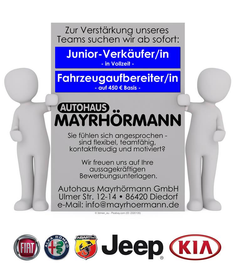 Juniorverkäufer & Fahrzeugaufbereiter in Augsburg / Diedorf gesucht // Autohaus Mayrhörmann GmbH //  Fiat, Kia, Alfa Romeo, Abarth, Fiat Professional und Jeep® Vertragshändler