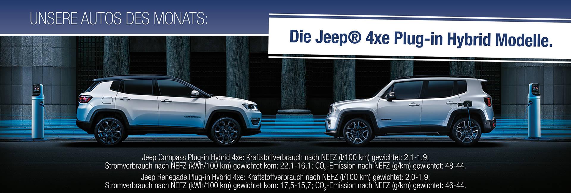 Auto des Monats 09-2020 Jeep® Renegade 4xe und Jeep® Compass 4xe mit Plug-in-Hybrid