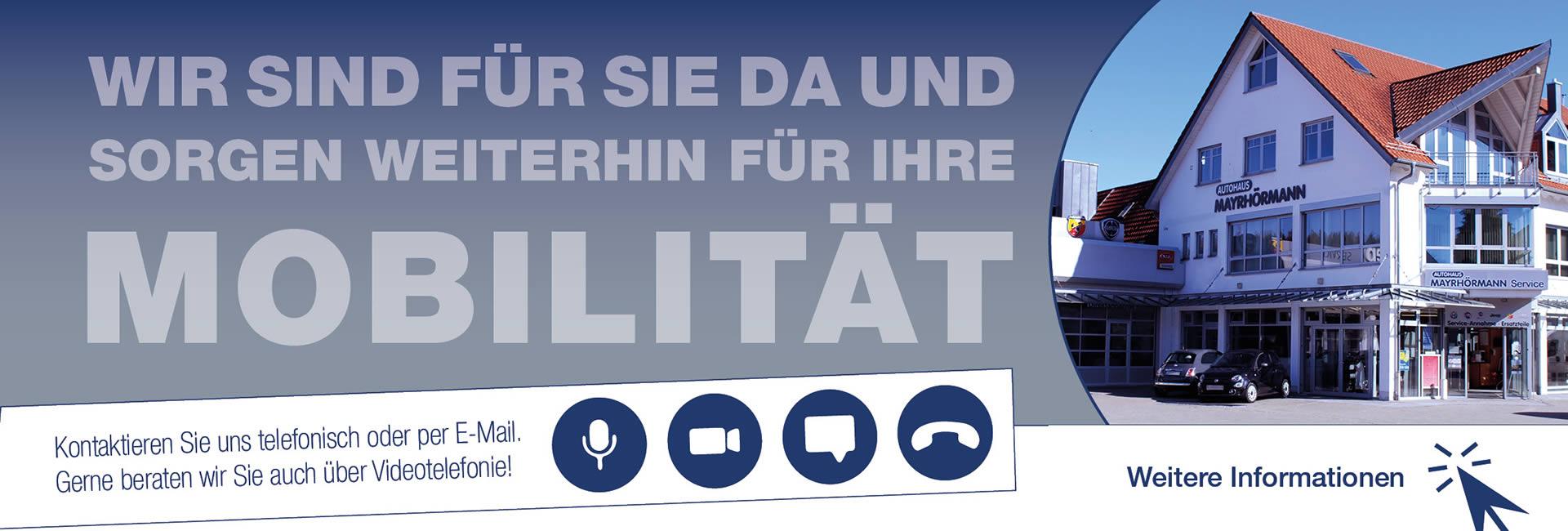 Slider Corona Erreichbarkeit 12-2020 Autohaus Mayrhörmann GmbH