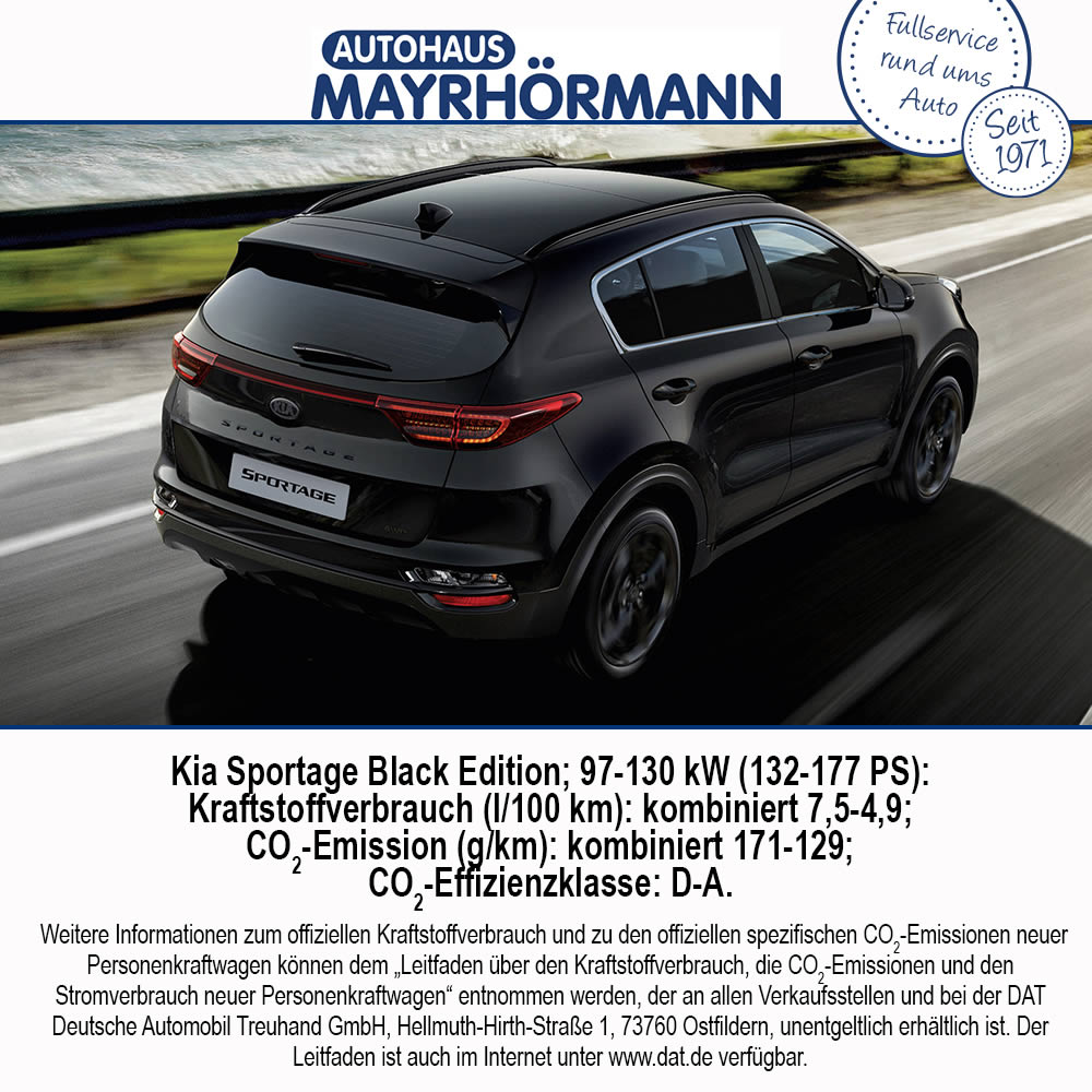 Auto des Monats 02-2021 Kia Sportage Black Edition / Autohaus Mayrhörmann GmbH