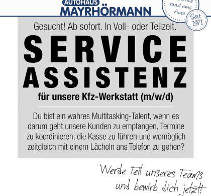 Serviceassistent (m/w/d) in Vollzeit gesucht - Autohaus Mayrhörmann GmbH