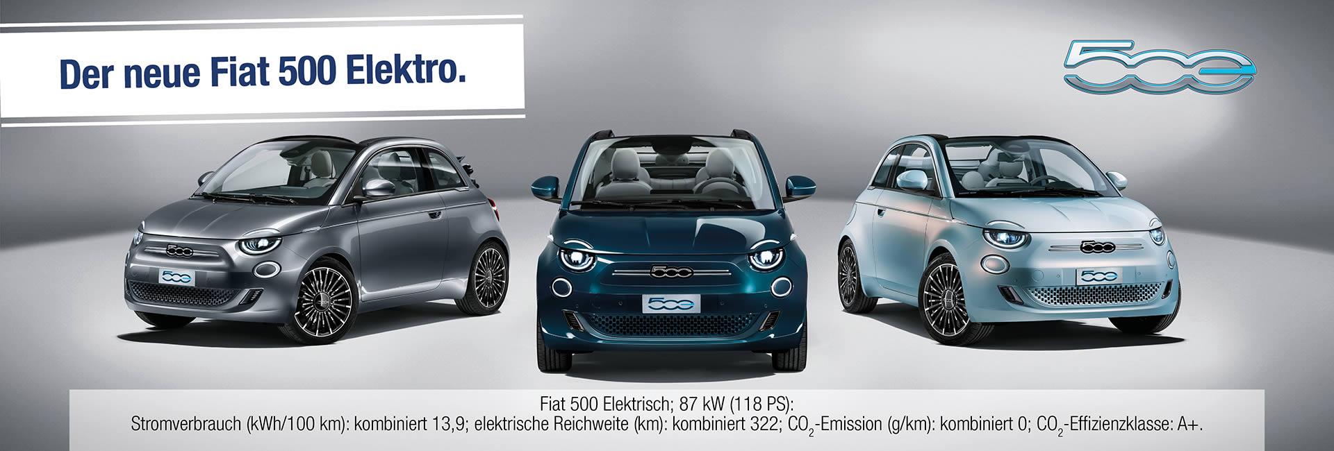 Slider Fiat 500e im Autohaus Mayrhörmann GmbH