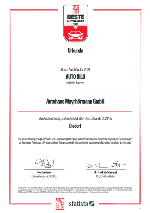 AutoBild Beste Autohäuser 2021 Autohaus Mayrhörmann GmbH