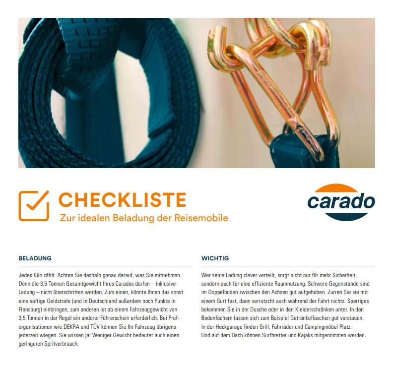 Checkliste Beladung Wohnmobil