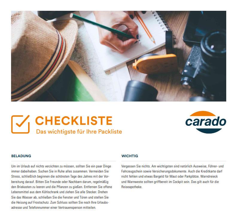 Checkliste Packliste Wohnmobil