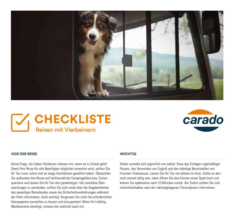 Checkliste Vierbeiner Wohnmobil