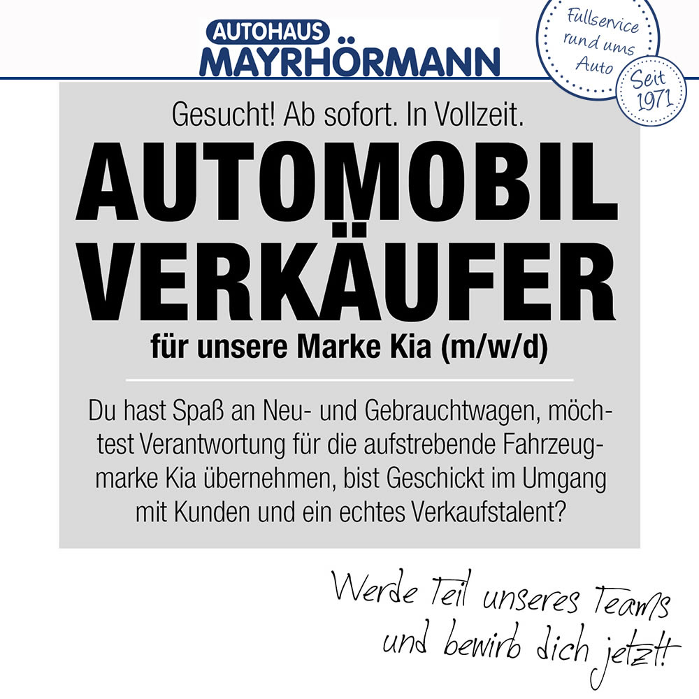 Stellenangebot Automobilverkäufer (m/w/d) Kia im Autohaus Mayrhörmann GmbH 06-2021