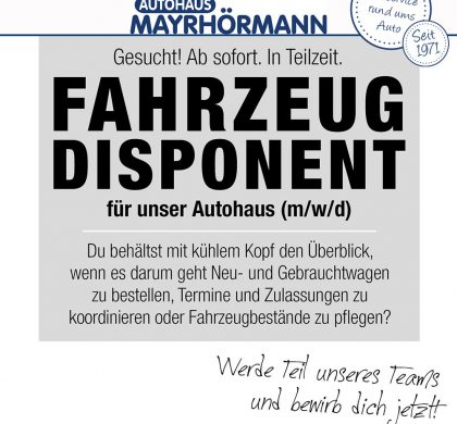 Stellenangebot Disponent (m/w/d) im Autohaus Mayrhörmann GmbH 06-2021