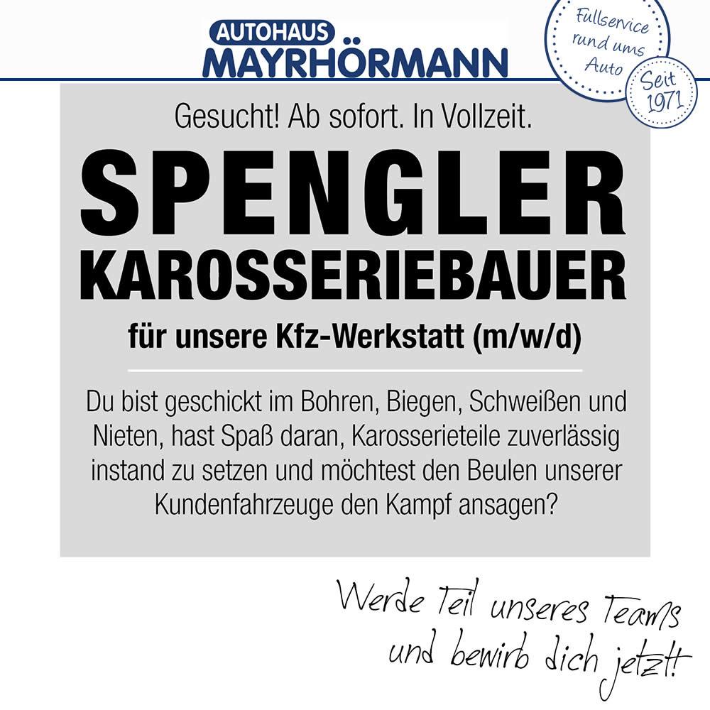 Stellenangebot Spengler Karosseriebauer im Autohaus Mayrhörmann GmbH 06-2021