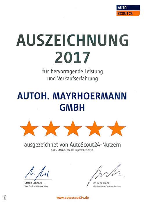 Autoscout24 Auszeichnung 2017 für das Autohaus Mayrhörmann GmbH